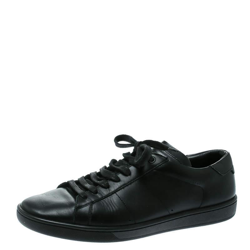 Saint Laurent Paris Black Leather Low Top Sneakers Size 41