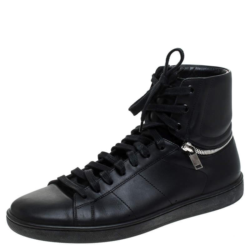 Saint Laurent Paris Black Leather High Top Sneakers Size 41.5