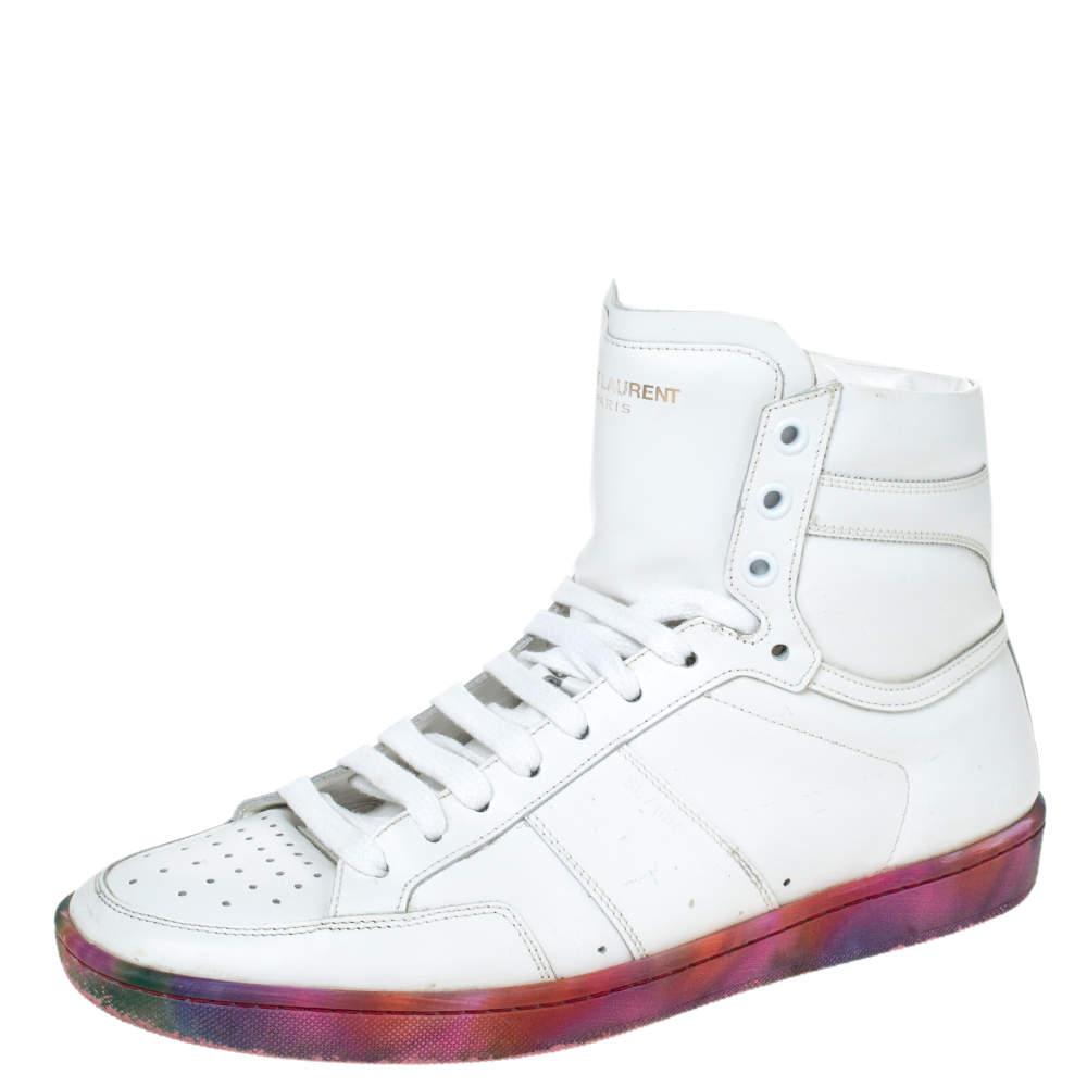 Saint Laurent Paris White Leather Court Classic SL/10H High Top Sneakers Size 40
