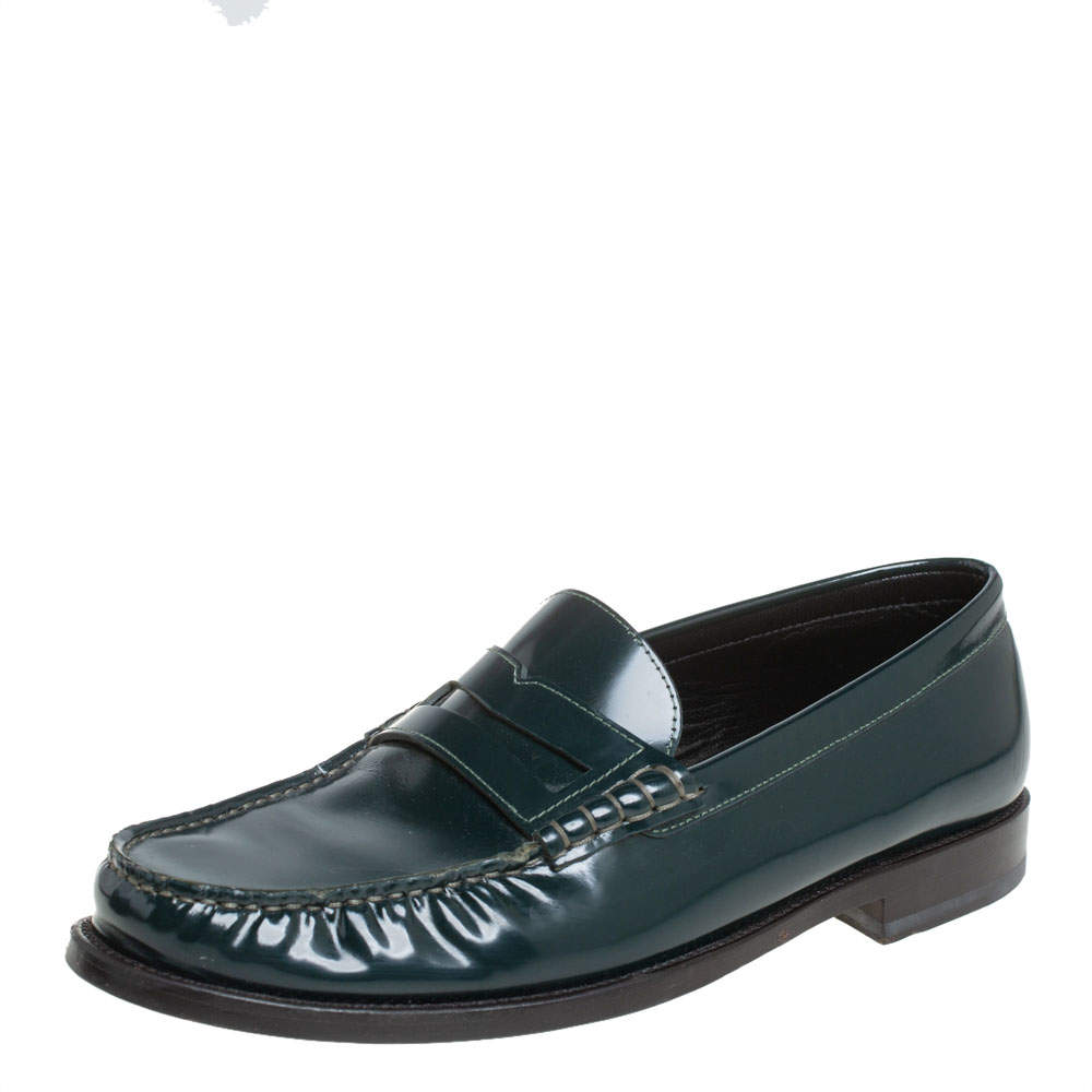Saint Laurent Green Leather Penny Slip On Loafers Size 42