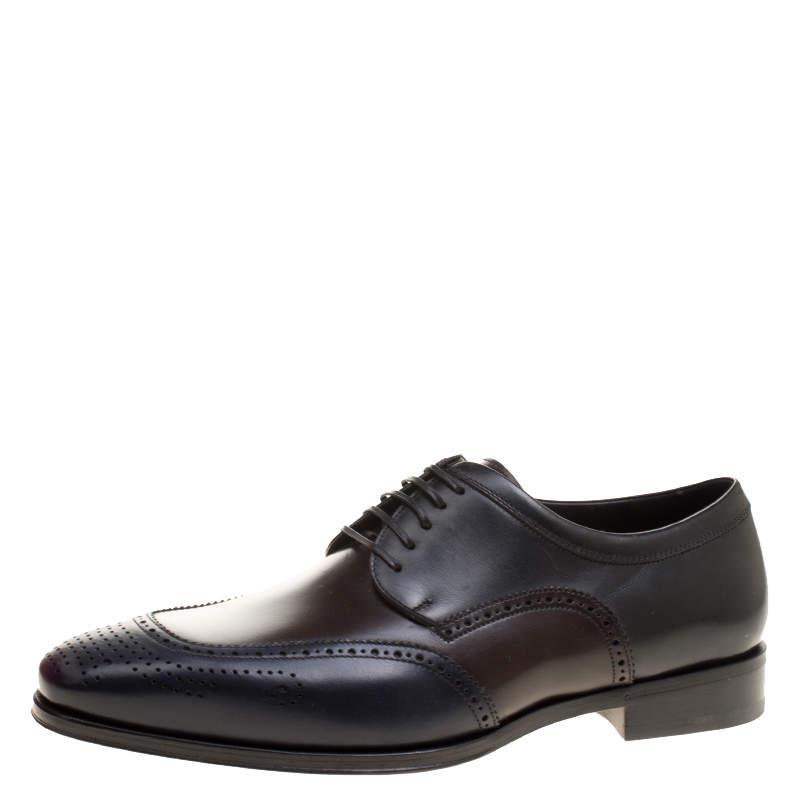 Salvatore Ferragamo Tricolor Leather Brogue Oxfords Size 43.5