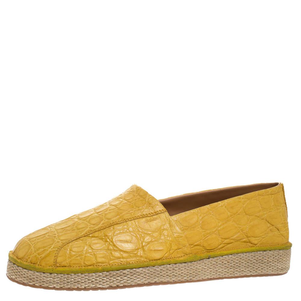 Salvatore Ferragamo Mustard Crocodile Lampedusa Espadrilles Size 43.5