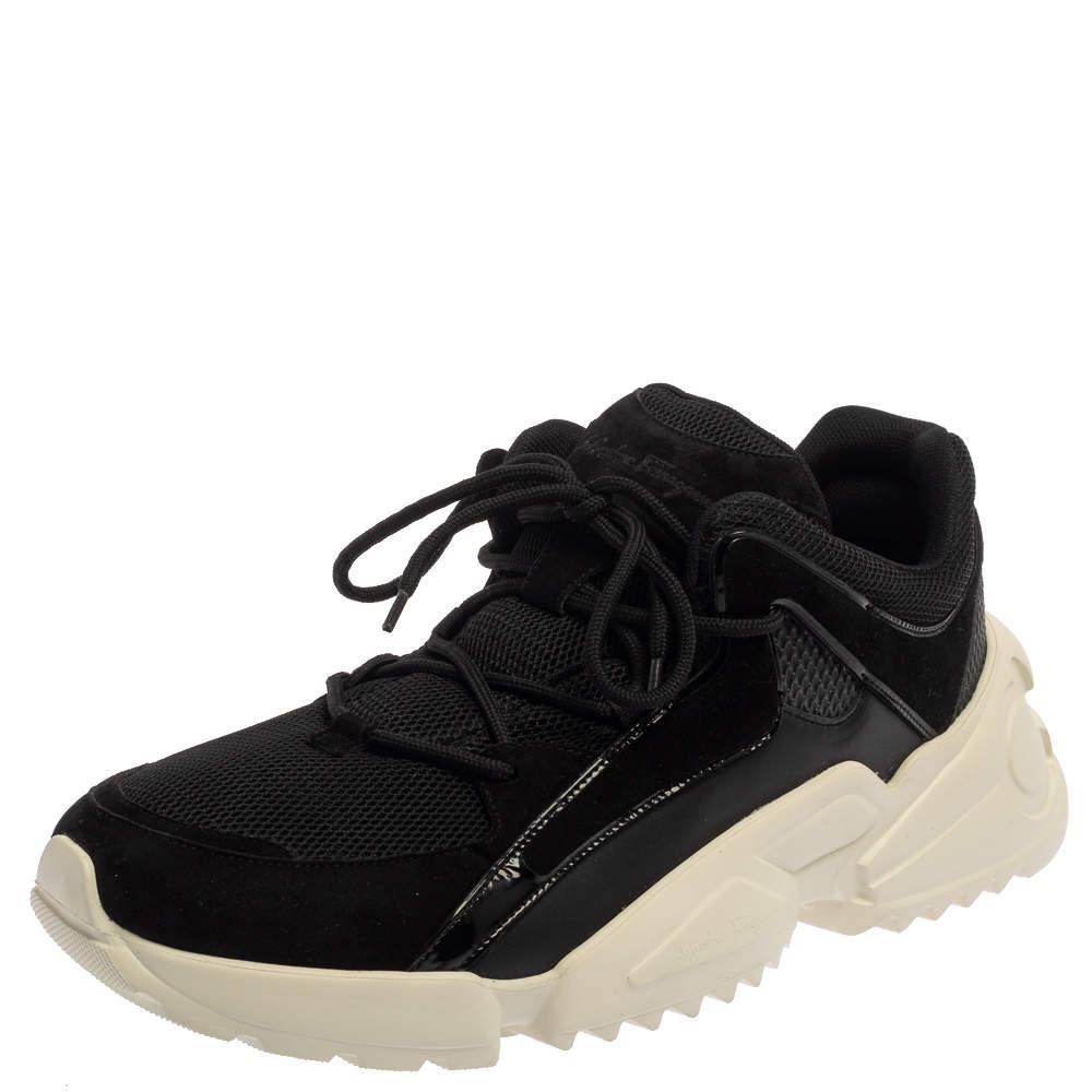 Salvatore Ferragamo Black Suede And Mesh Skylar Sneakers Size 44