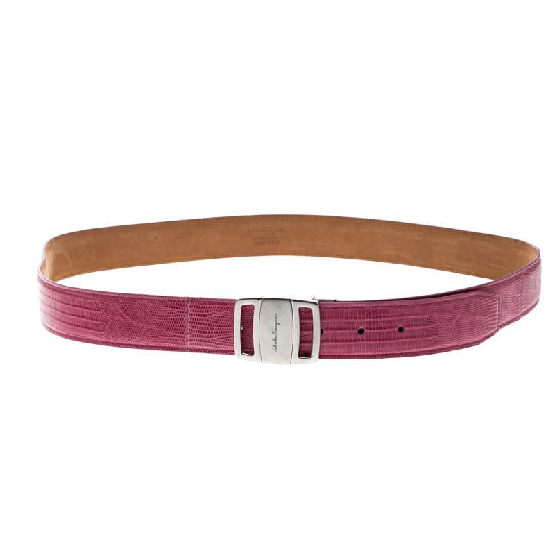 Salvatore Ferragamo Pink Lizard Adjustable Buckle Belt 115cm