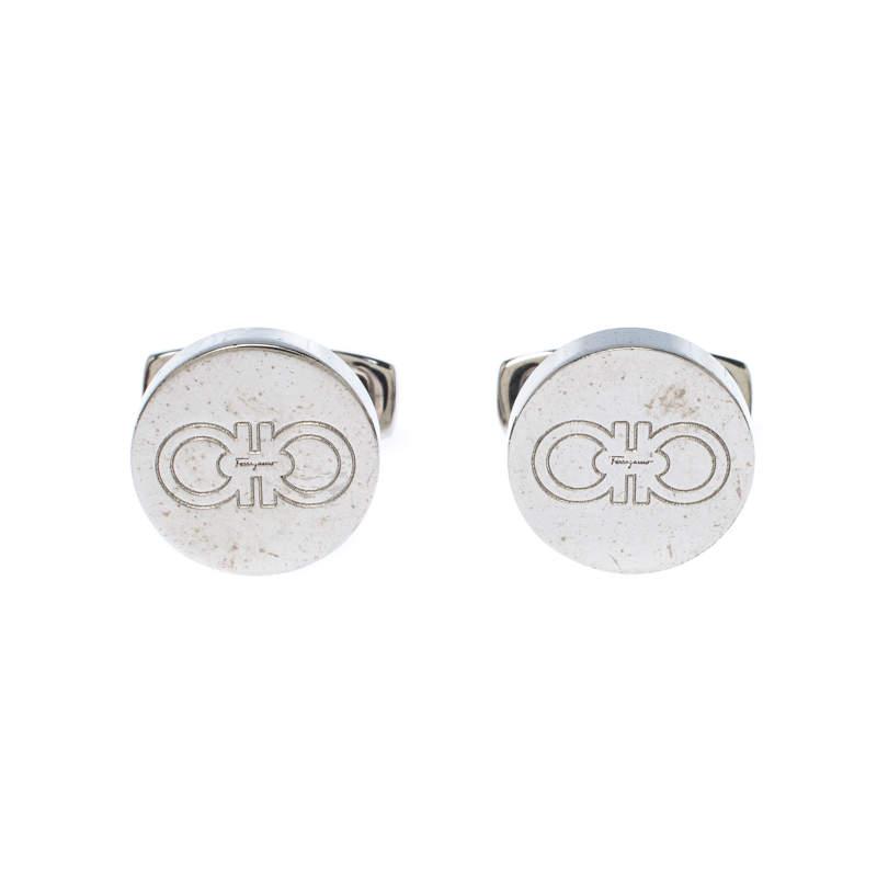 Salvatore Ferragamo Logo Silver Tone Round Cufflinks
