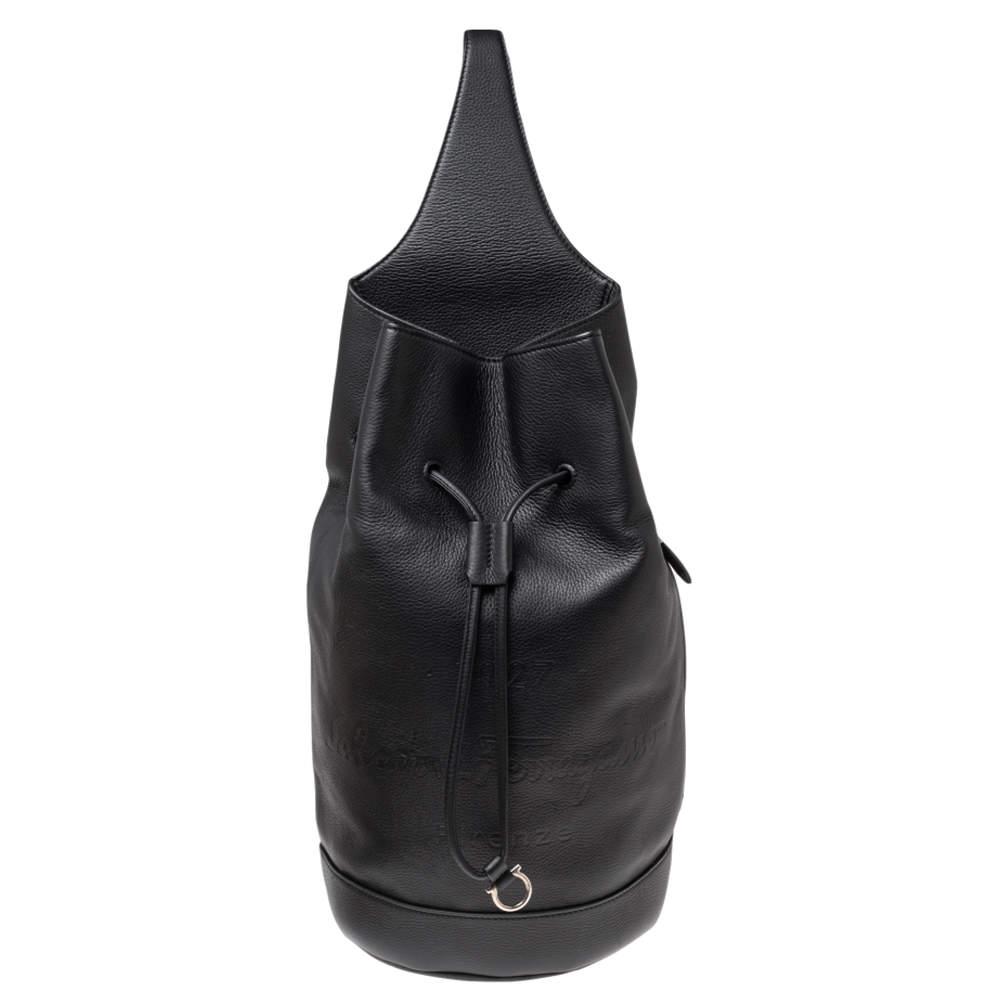 Salvatore Ferragamo Black Grained Leather Tornabuoni 1927 Collection Shoulder Backpack