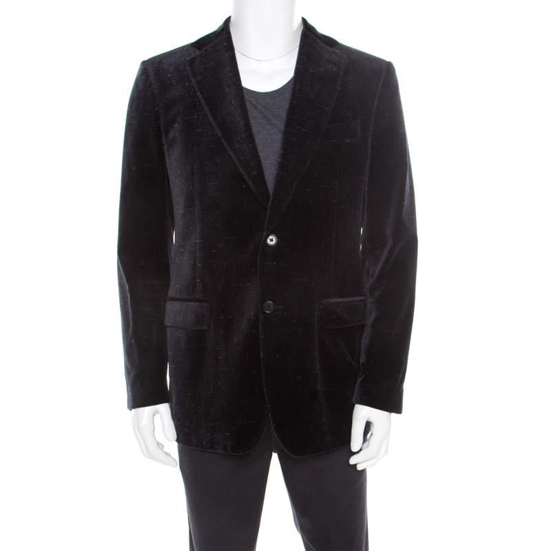 Salvatore Ferragamo Charcoal Grey Printed Velvet Blazer XL