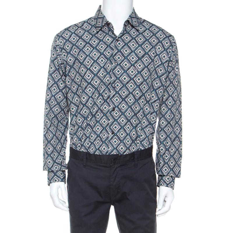 Salvatore Ferragamo Multicolor Abstract Print Cotton Derby Fit Shirt XL