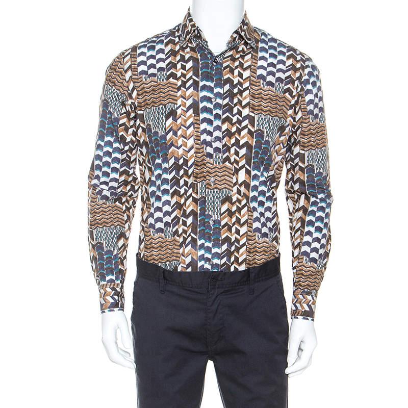 Salvatore Ferragamo Brown Geometric Print Cotton Derby Fit Shirt S
