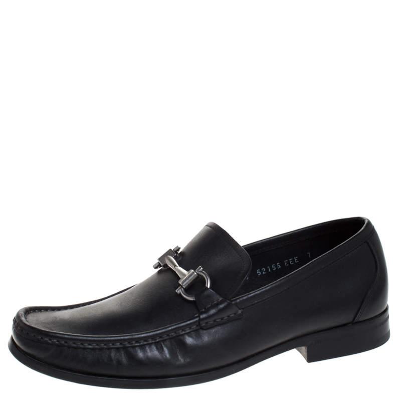 Salvatore Ferragamo Black Leather Gancini Bit Loafers Size 41