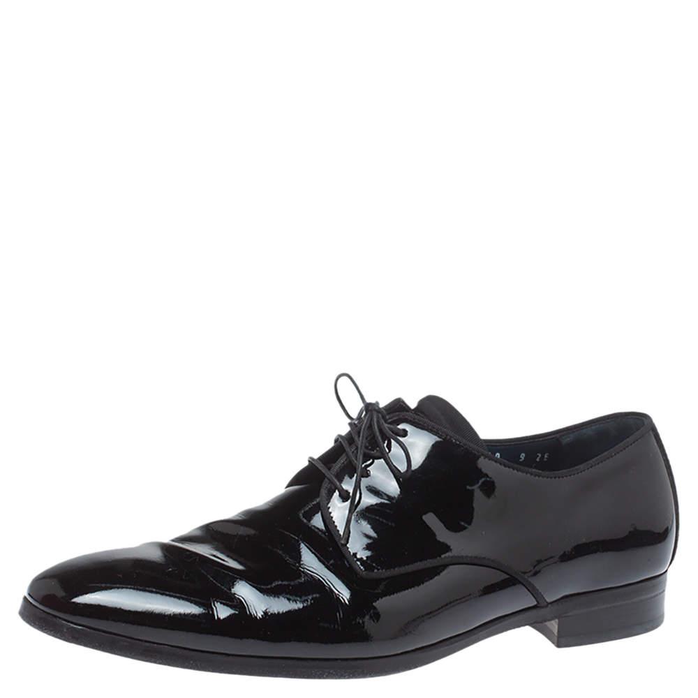 Salvatore Ferragamo Black Patent Leather Dimo Lace Oxford Size 43