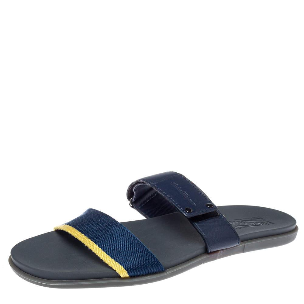 Salvatore Ferragamo Blue Leather And Canvas Slide Flats Size 44