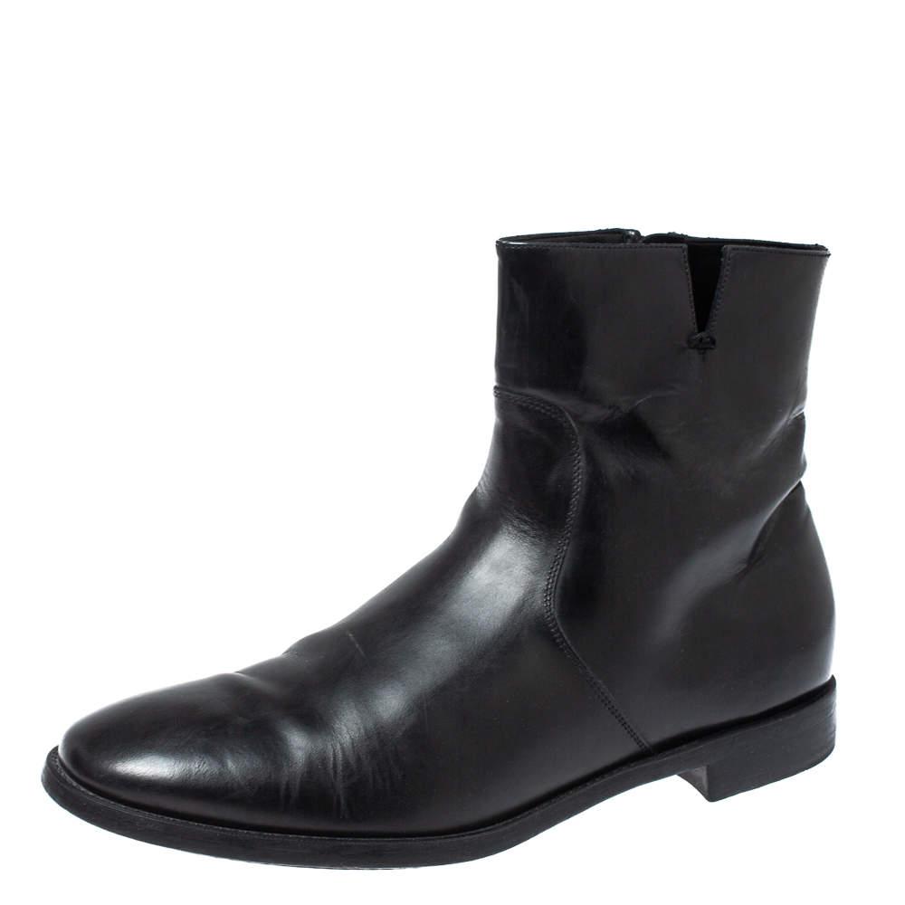 Salvatore Ferragamo Black Leather Ankle Boots Size 44
