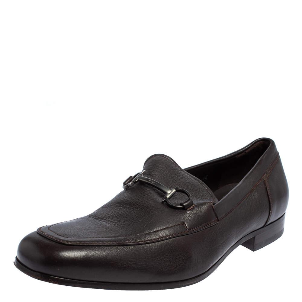 Salvatore Ferragamo Brown Leather Gancini Bit Slip On Loafers Size 43.5