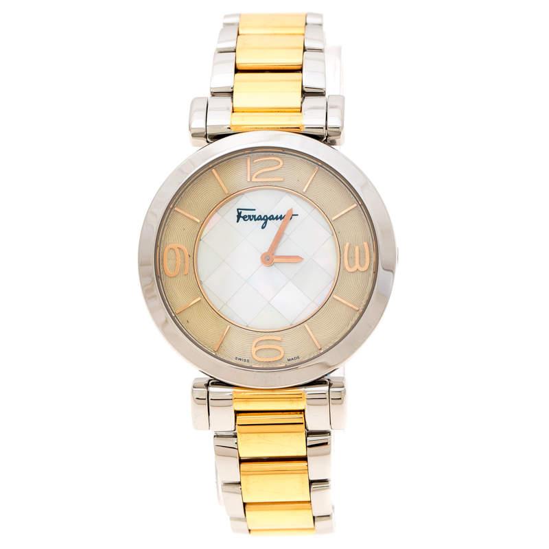 Salvatore Ferragamo Mother Pearl Two-Tone Stainless Steel Gancino FG3060014 Women's Wristwatch 39 mm