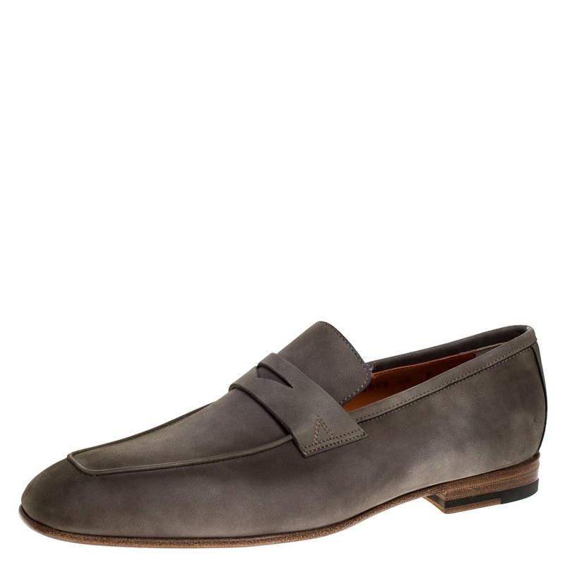 Santoni Grey Nubuck Leather Penny Slip On Loafers Size 41.5