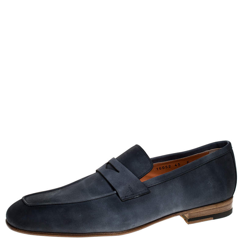 Santoni Blue Nubuck Leather Penny Slip On Loafers Size 43