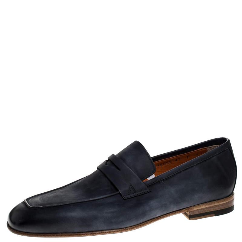Santoni Blue Nubuck Leather Penny Slip On Loafers Size 41