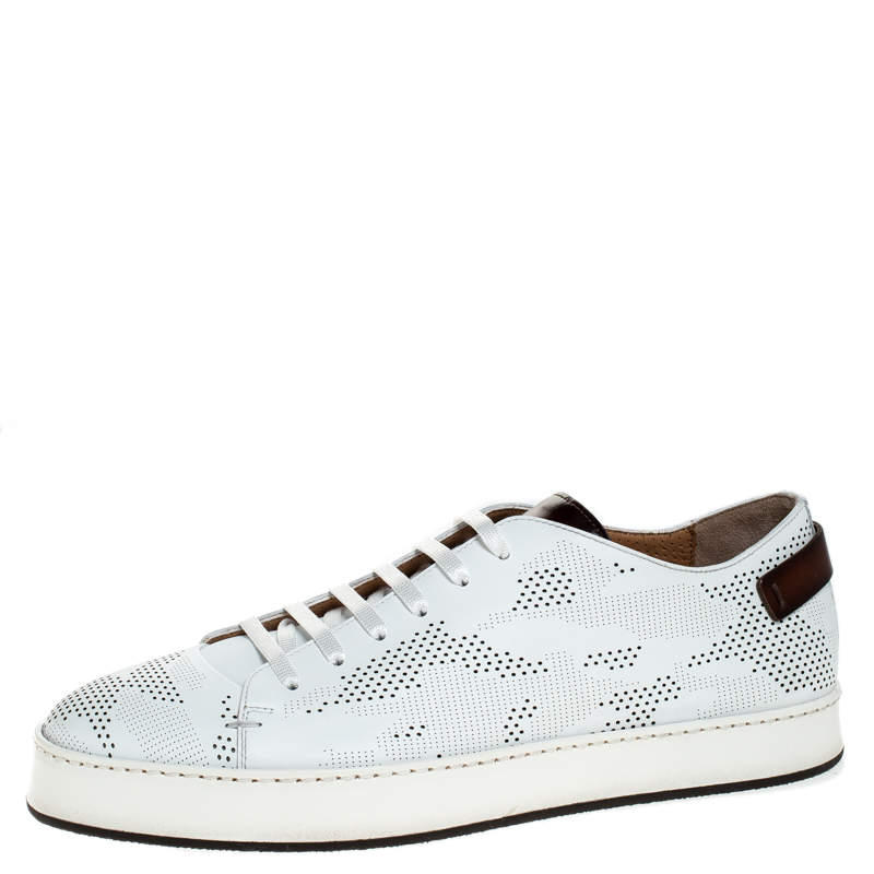 Santoni White Perforated Leather Low Top Sneakers Size 39.5