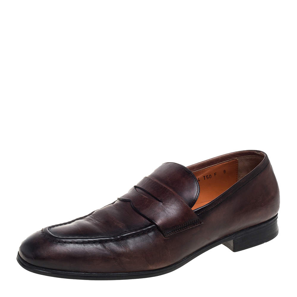 Santoni Brown Leather Slip On Loafers Size 42