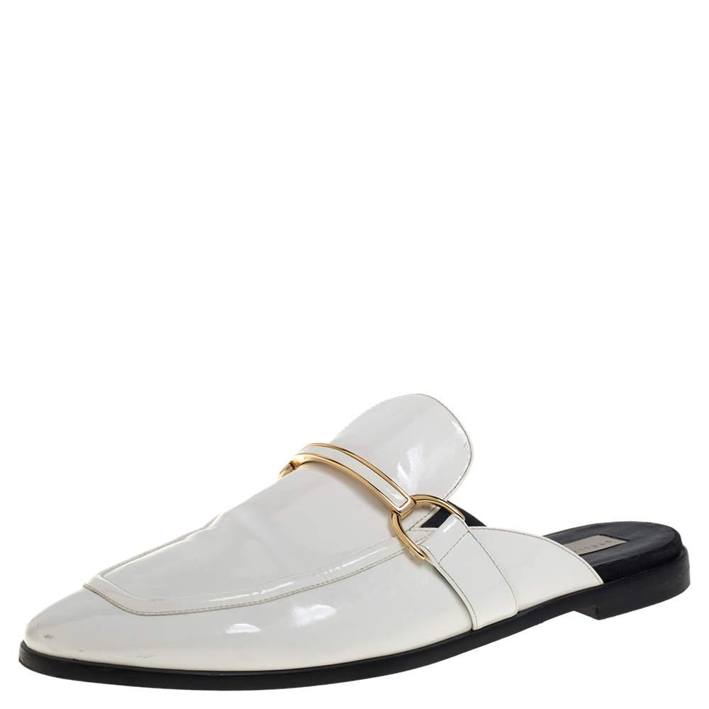 Stella McCartney White Faux Leather Holzer Slip On Loafers Size 41