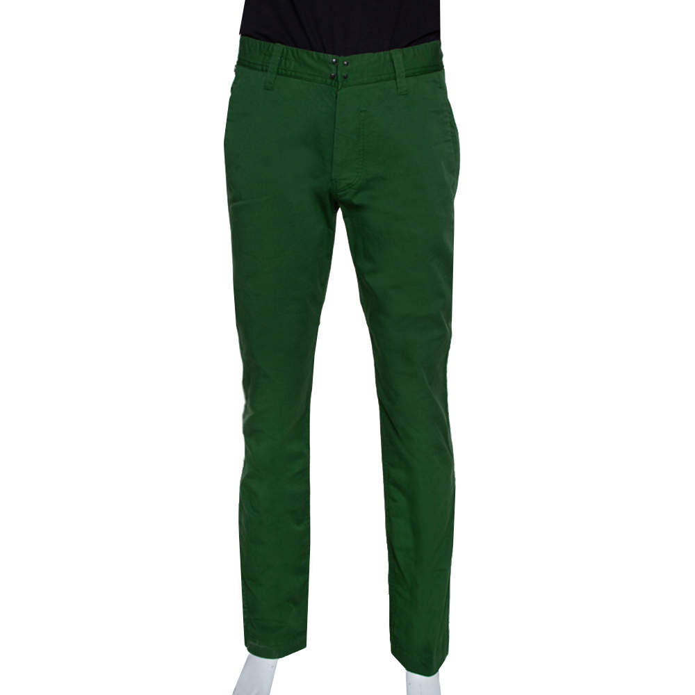 Stone Island Green Stretch Cotton Regular Fit Trousers L