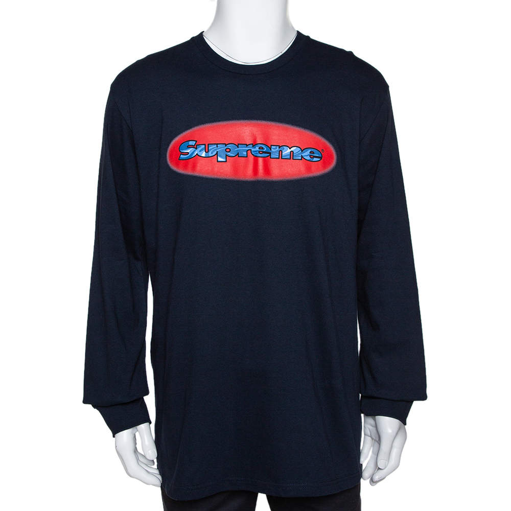 Supreme Navy Blue Cotton Ripple Long Sleeve T Shirt L