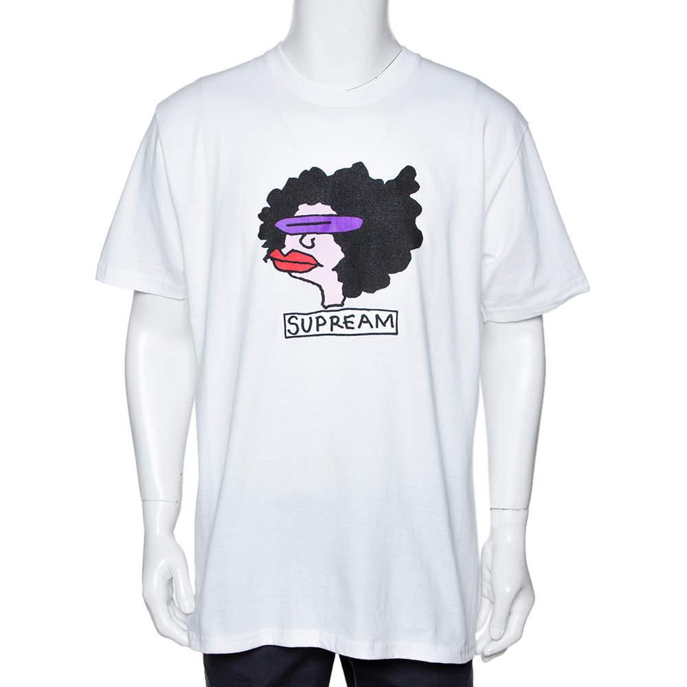 Supreme White Cotton Gonz Ram Crew Neck T Shirt L