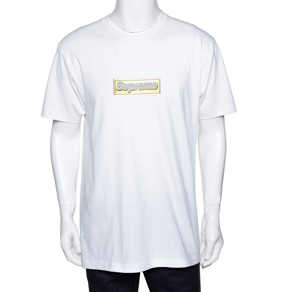 Supreme White Cotton Crystal Logo Print Crew Neck T Shirt L