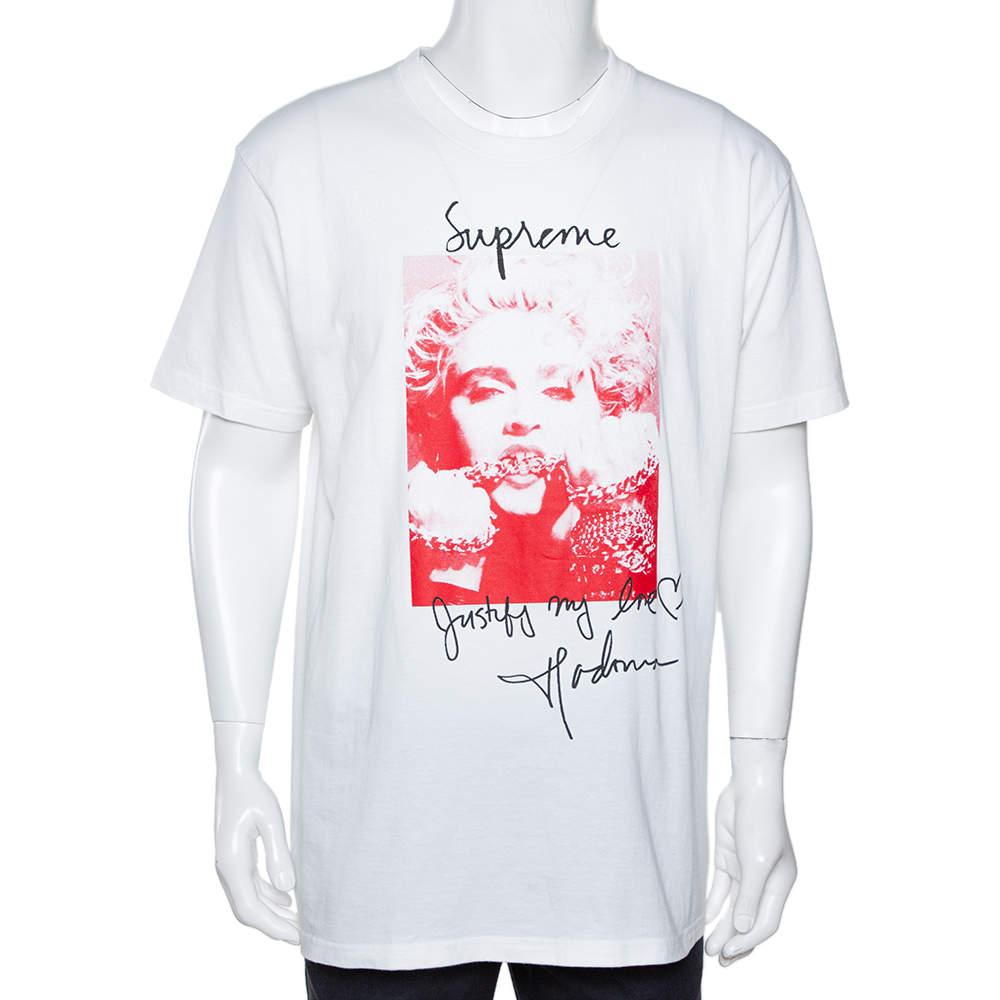 Supreme White Madonna Print Cotton Crew Neck T-Shirt L