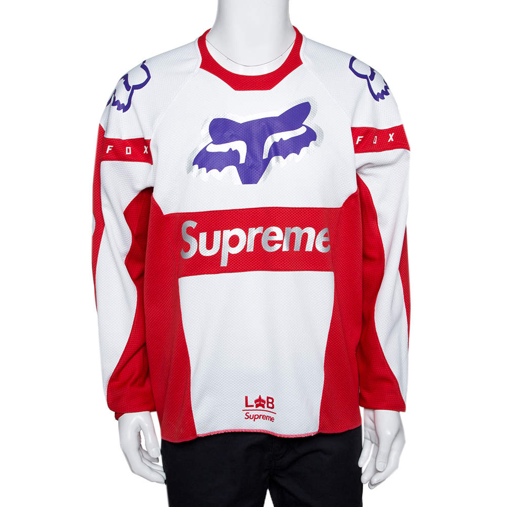 Supreme X Fox Red & White Racing Moto Jersey T-Shirt L