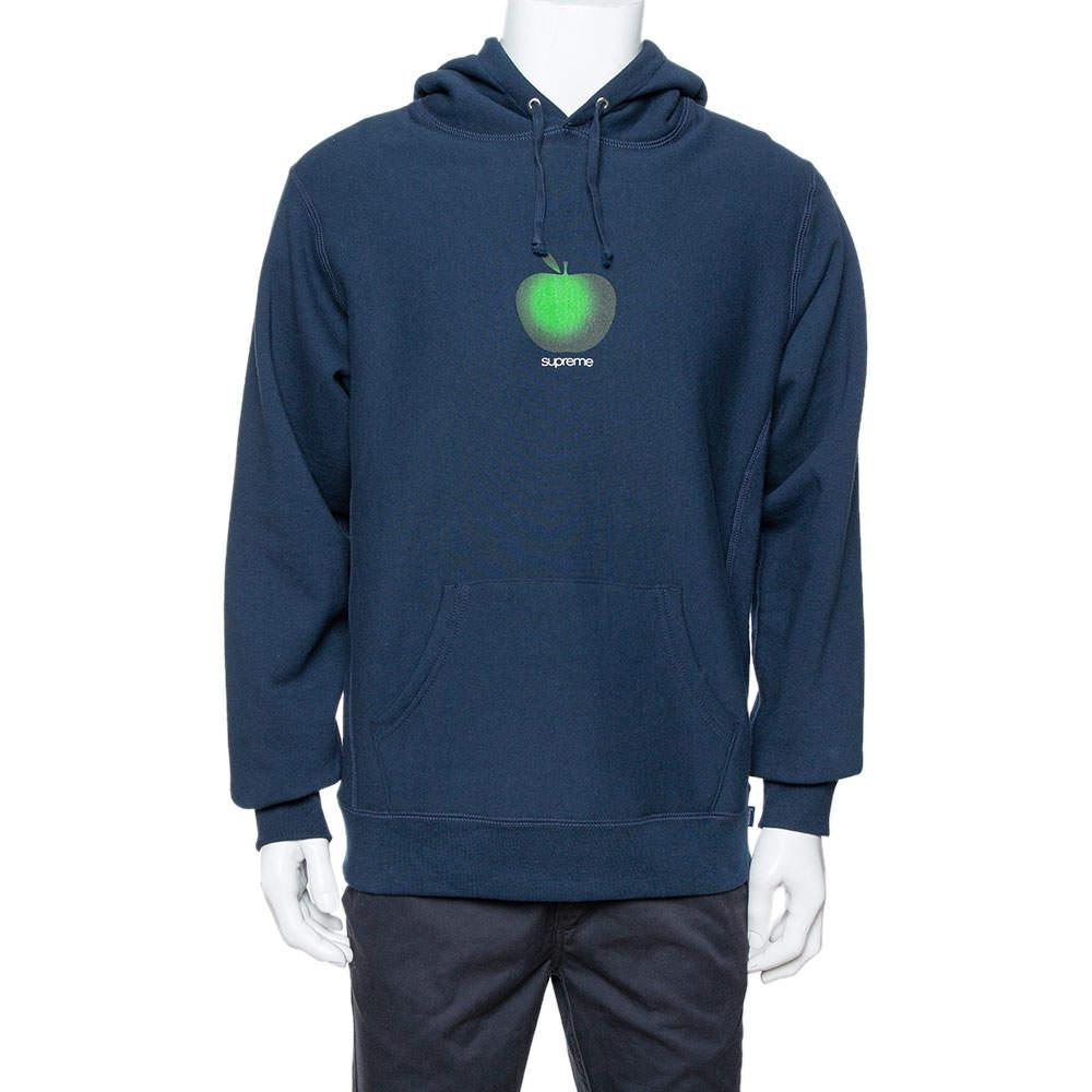 Supreme Midnight Blue Apple Logo Print Cotton Hoodie M