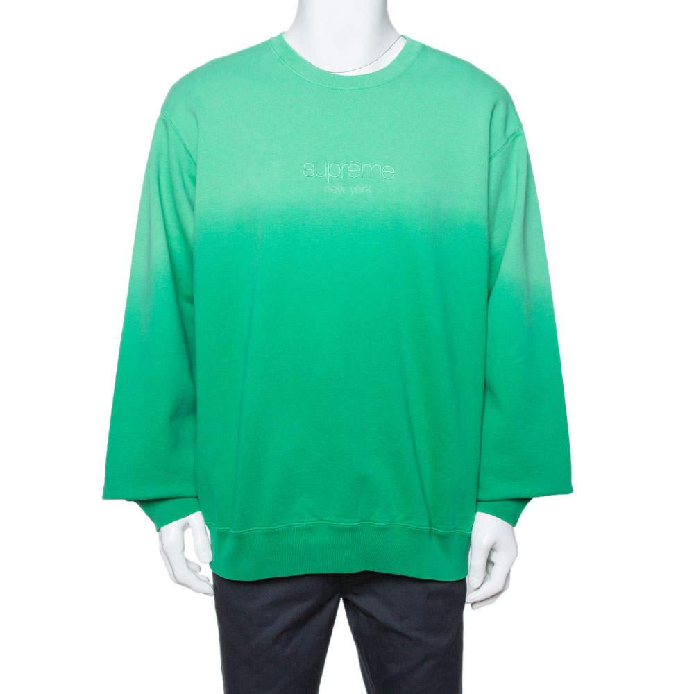 Supreme Green Dipped Cotton Crew Neck Sweatshirt XL