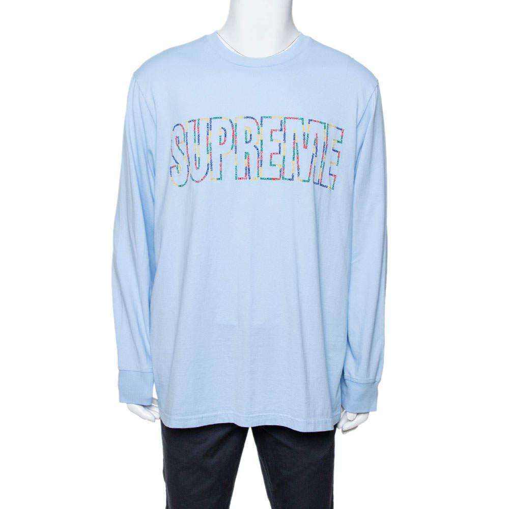Supreme Light Blue Cotton Supreme City Embroidered Long Sleeve T-Shirt XL