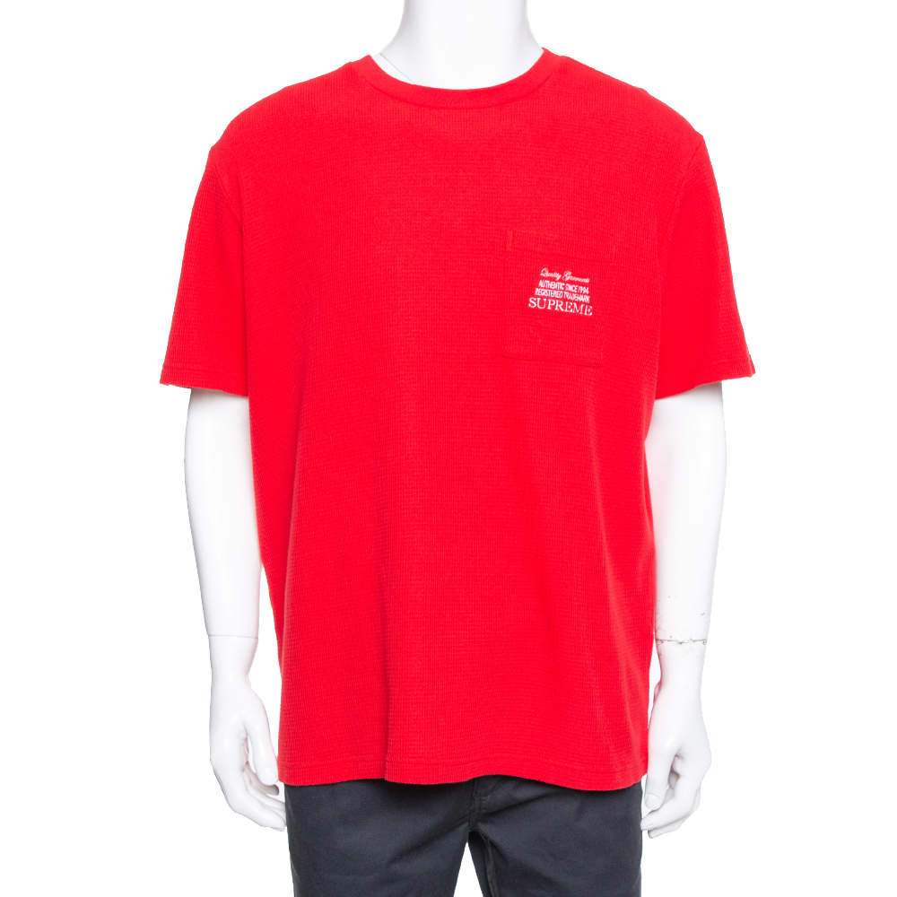 Supreme Red Waffle Cotton Embroidered Logo Detail  Crewneck T- Shirt L