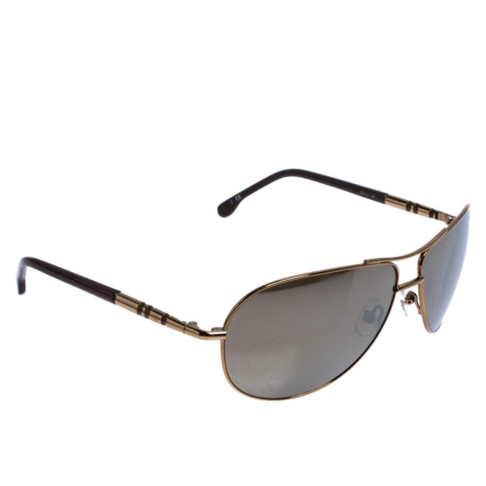 S.T Dupont Gold Tone/ Brown DP 7002 Polarized Aviator Sunglasses