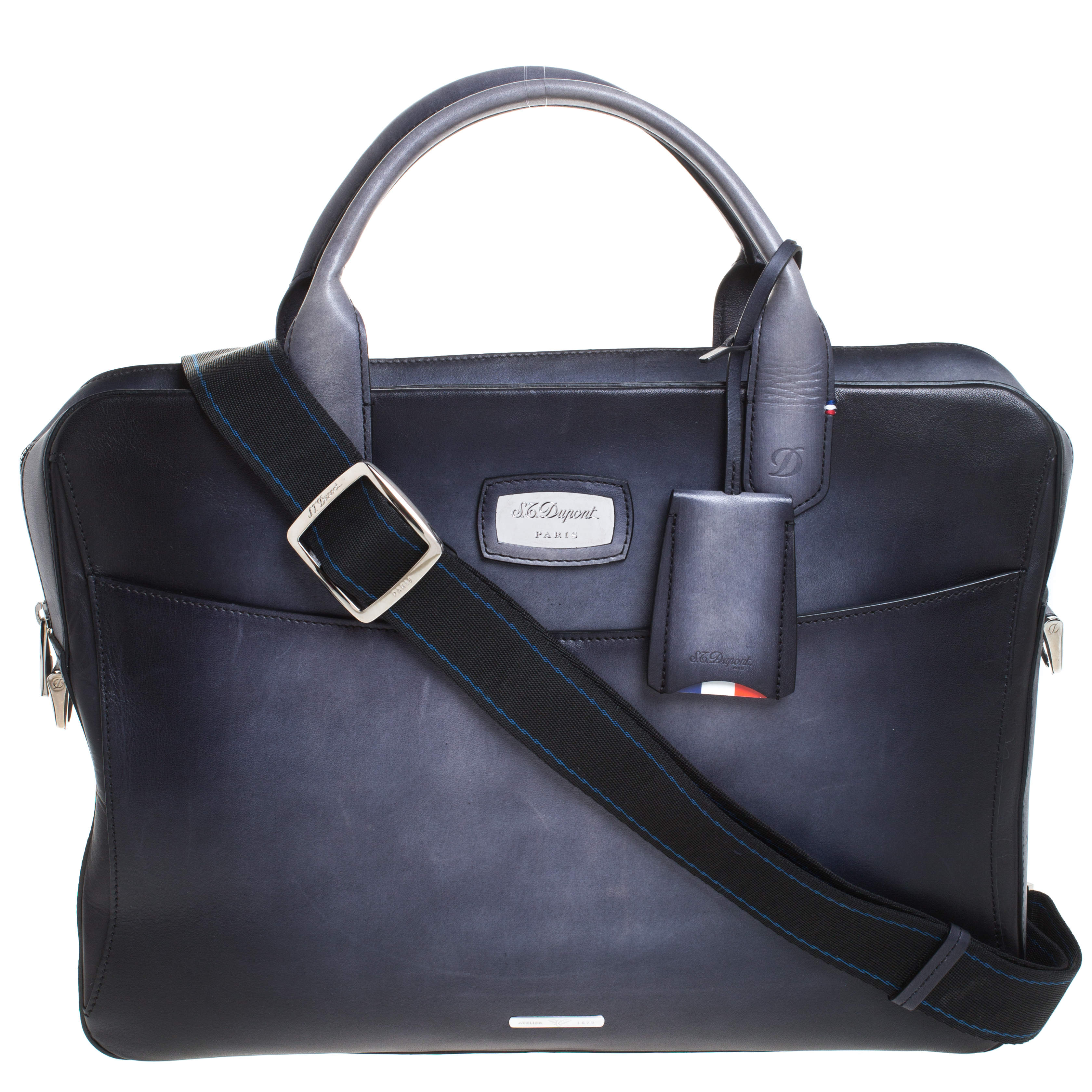 S.T. Dupont Dark Blue Ombre Leather Atelier Document Briefcase