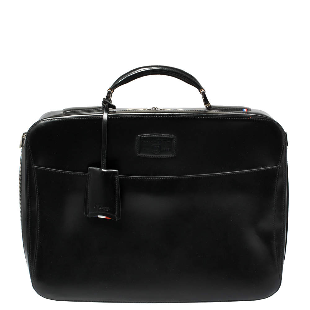 S.T. Dupont Black Leather Document Briefcase