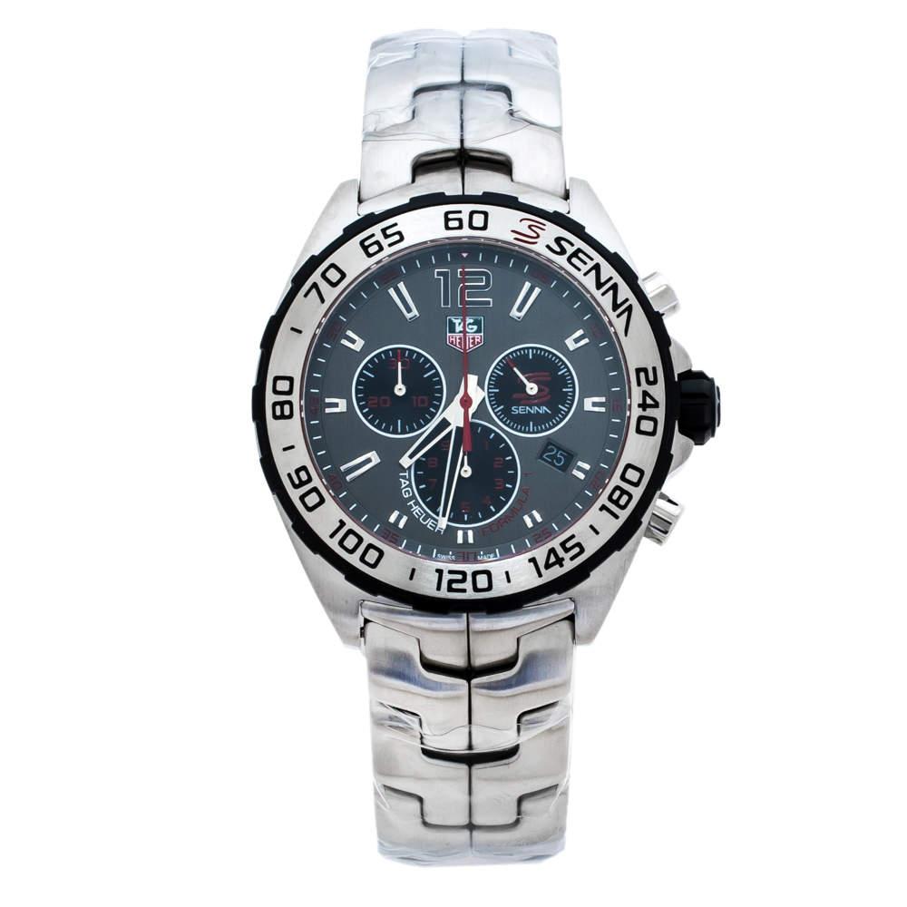 Tag Heuer Grey Stainless Steel Formula 1 Senna CAZ1012.BA0883 Men's Wristwatch 43 mm