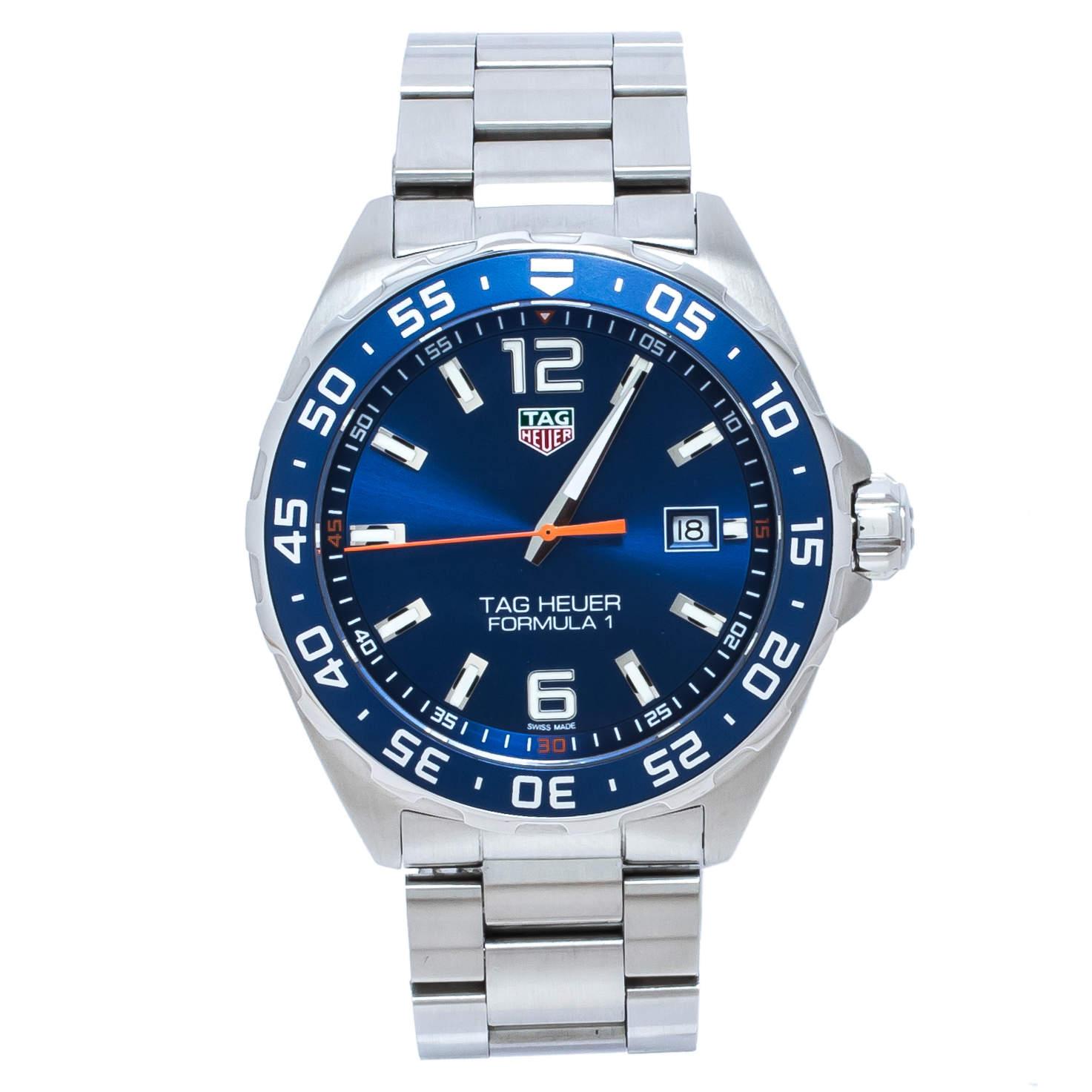 TAG Heuer Blue Stainless Steel Formula 1 WAZ1010.BA0842 Men's Wristwatch 43 mm