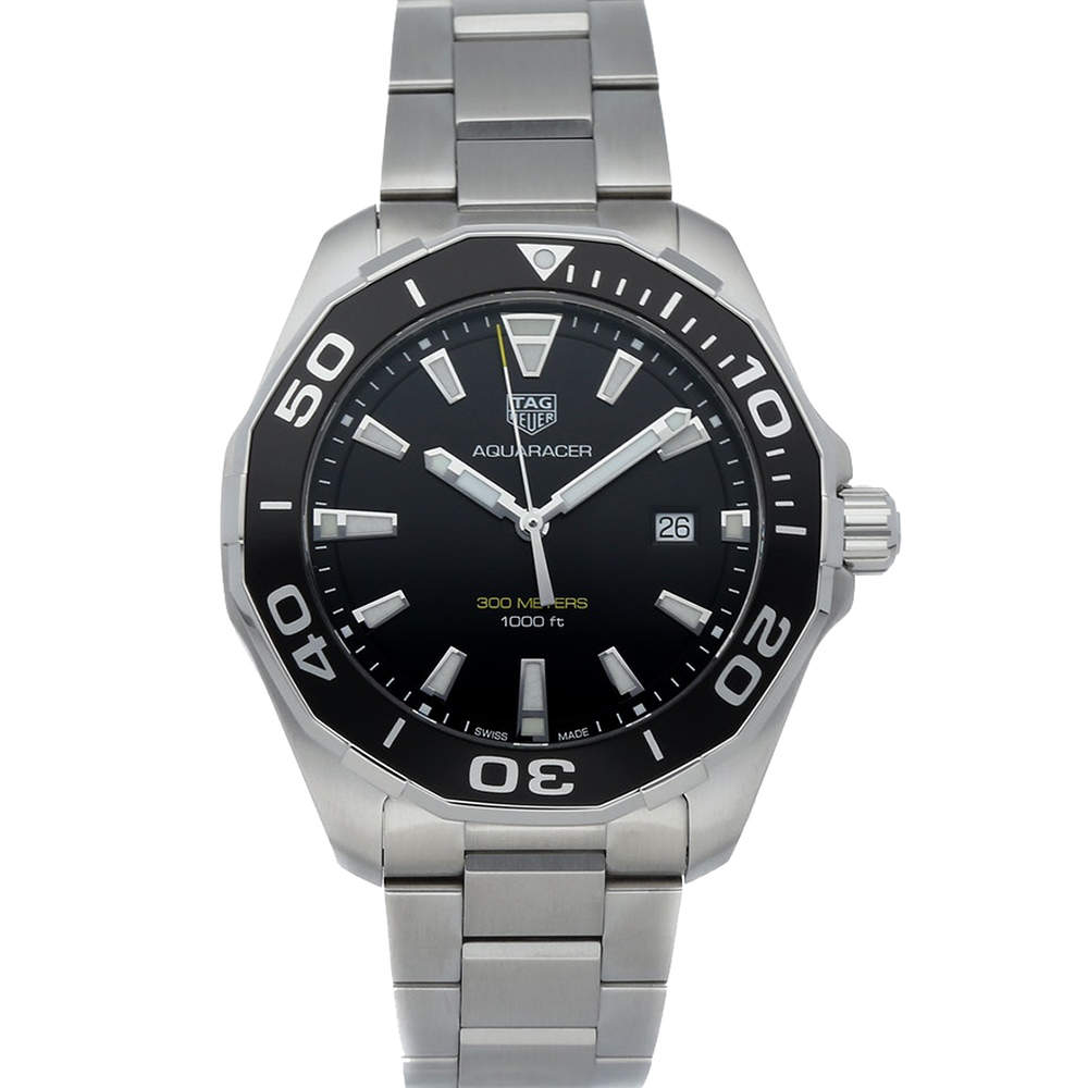 Tag Heuer Black Stainless Steel Aquaracer WAY101A.BA0746 Men's Wristwatch 43 MM