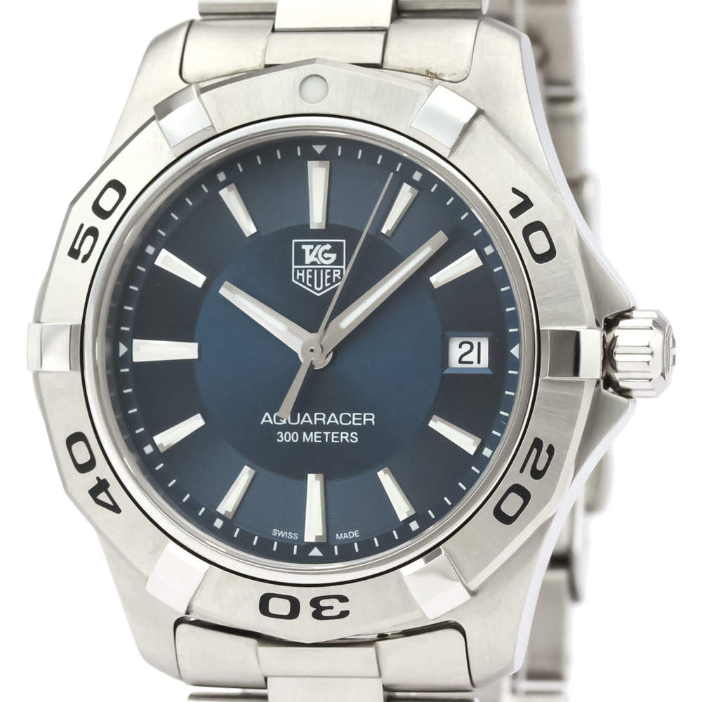 Tag Heuer Blue Stainless Steel Aquaracer Quartz WAP1112 Men's Wristwatch 39 MM