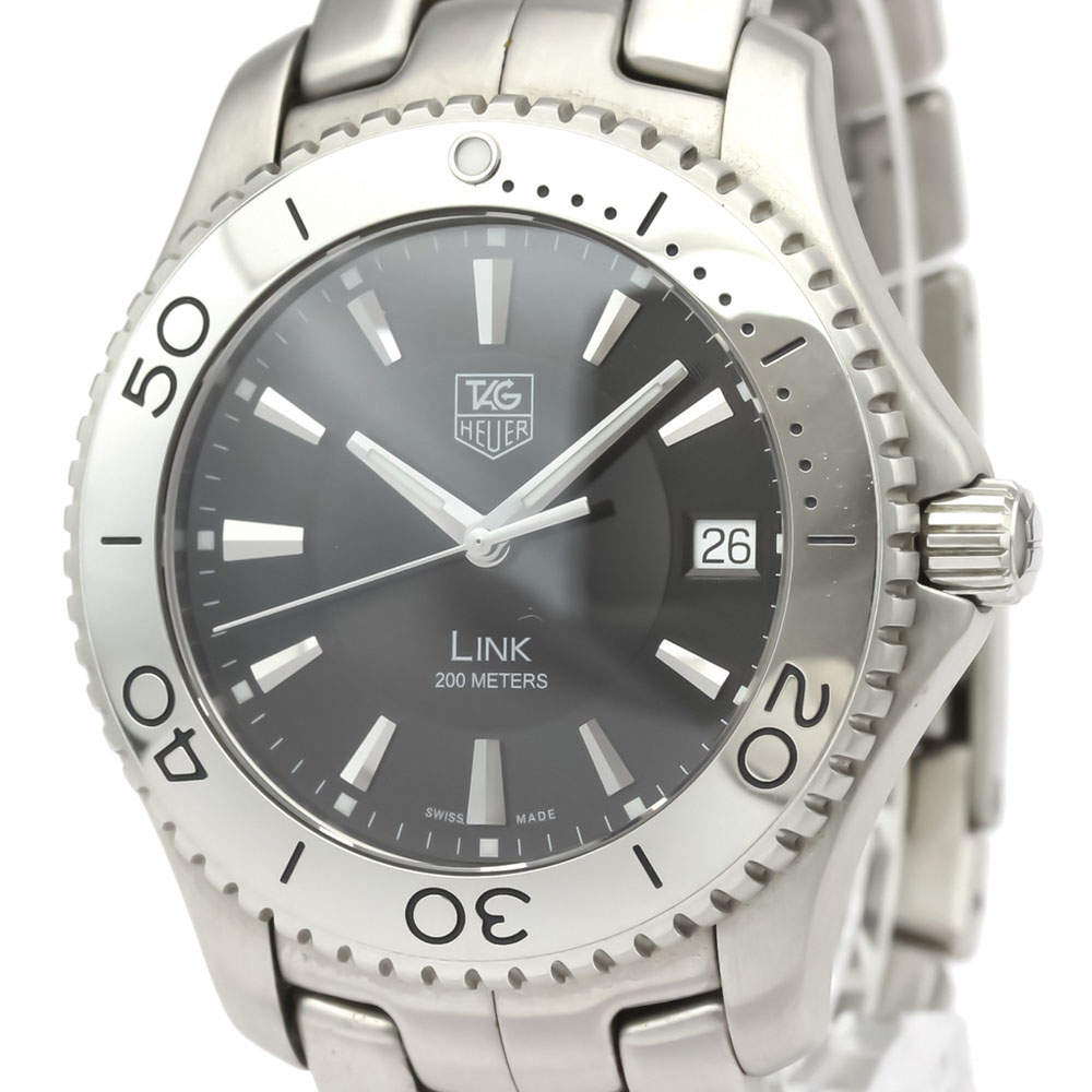 Tag Heuer Black Stainless Steel Link Quartz WJ1110 Men's Wristwatch 39 MM