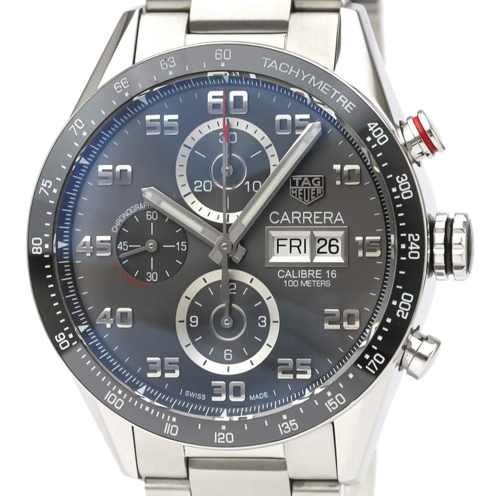 Tag Heuer Grey Ceramic And Stainless Steel Carrera CV2A1U Automatic Men's Wristwatch 43 MM