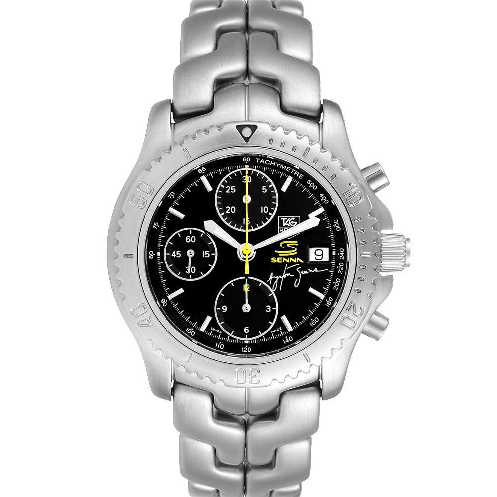 Tag Heuer Black Stainless Steel Link Chronograph CT2115 Men's Wristwatch 41 MM
