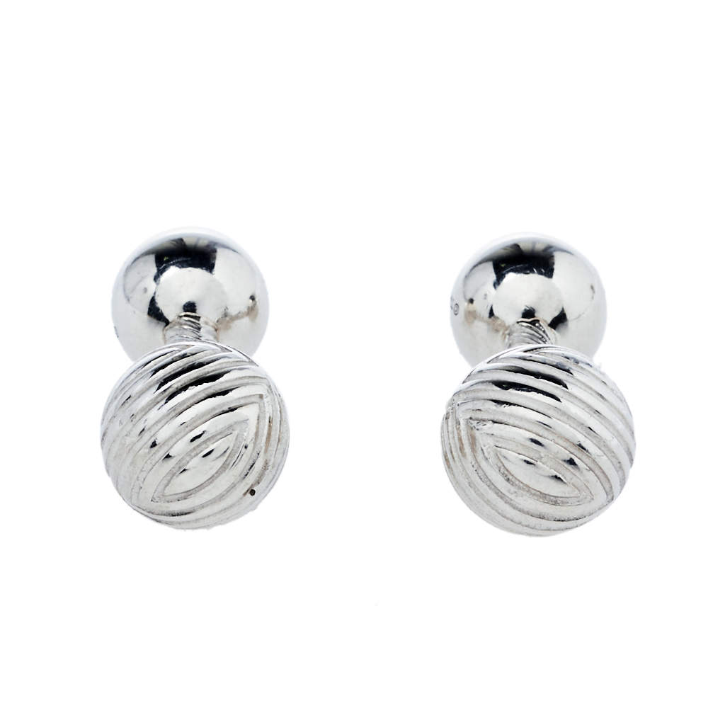 Tiffany & Co. Sterling Silver Textured Barbell Cufflinks