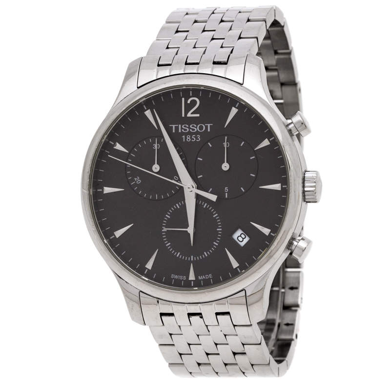 Tissot Anthracite Stainless Steel Tradition T063617A Chronograph Men's Wristwatch 42 mm