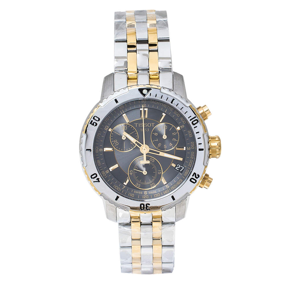 Tissot Greyish Brown Two Tone Stainless Steel PRS200 T067417A Men's Wristwatch 42 mm