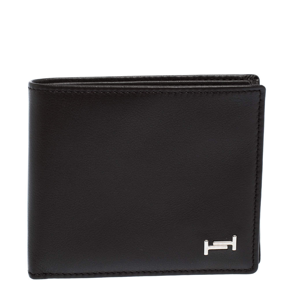 Tod's Dark Brown Leather Double T Bifold Wallet