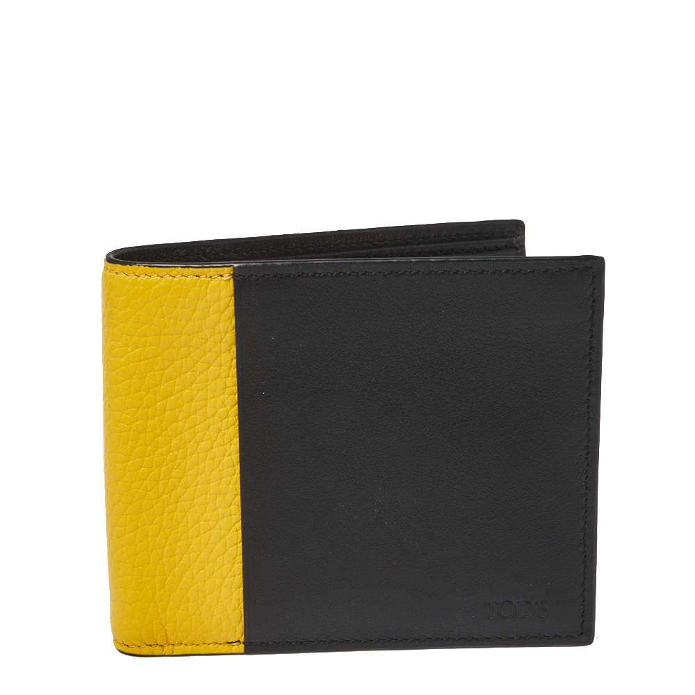Tod's Black/Yellow Leather Bifold Wallet